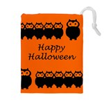 Happy Halloween - owls Drawstring Pouches (Extra Large) Front