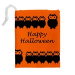 Happy Halloween - owls Drawstring Pouches (Extra Large) Back