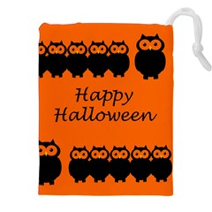 Happy Halloween   Owls Drawstring Pouches (xxl)