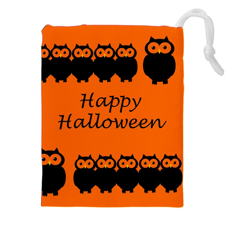 Happy Halloween - owls Drawstring Pouches (XXL)