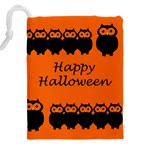 Happy Halloween - owls Drawstring Pouches (XXL) Back
