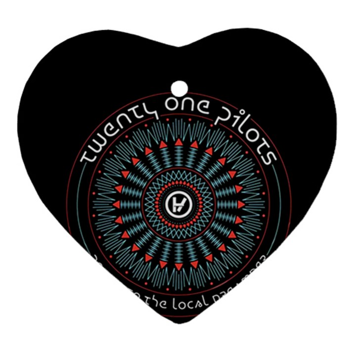 Twenty One Pilots Heart Ornament (2 Sides)