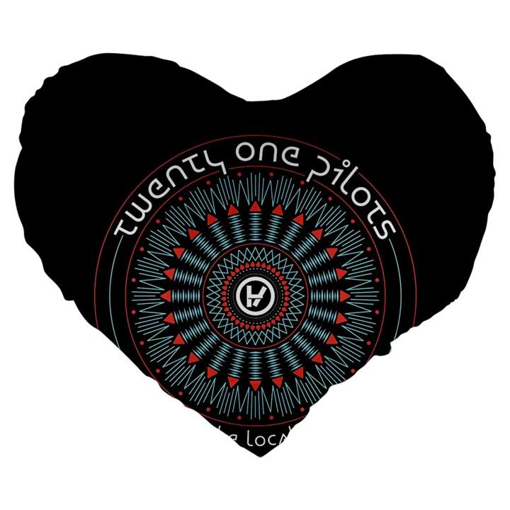 Twenty One Pilots Large 19  Premium Heart Shape Cushions