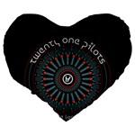 Twenty One Pilots Large 19  Premium Flano Heart Shape Cushions Back