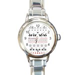 Ugly Christmas Humping Round Italian Charm Watch Front