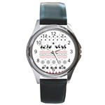 Ugly Christmas Humping Round Metal Watch Front