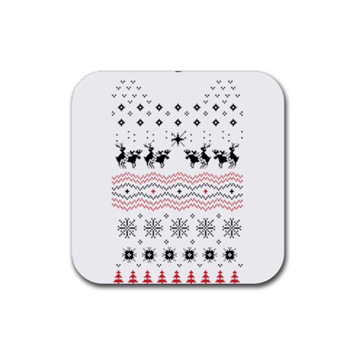 Ugly Christmas Humping Rubber Coaster (Square)