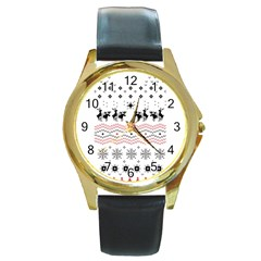 Ugly Christmas Humping Round Gold Metal Watch