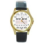 Ugly Christmas Humping Round Gold Metal Watch Front