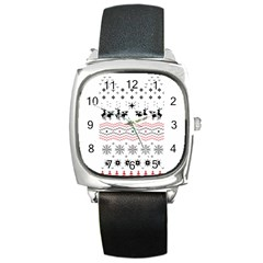 Ugly Christmas Humping Square Metal Watch