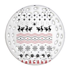 Ugly Christmas Humping Round Filigree Ornament (2Side)