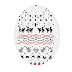 Ugly Christmas Humping Oval Filigree Ornament (2 Side)