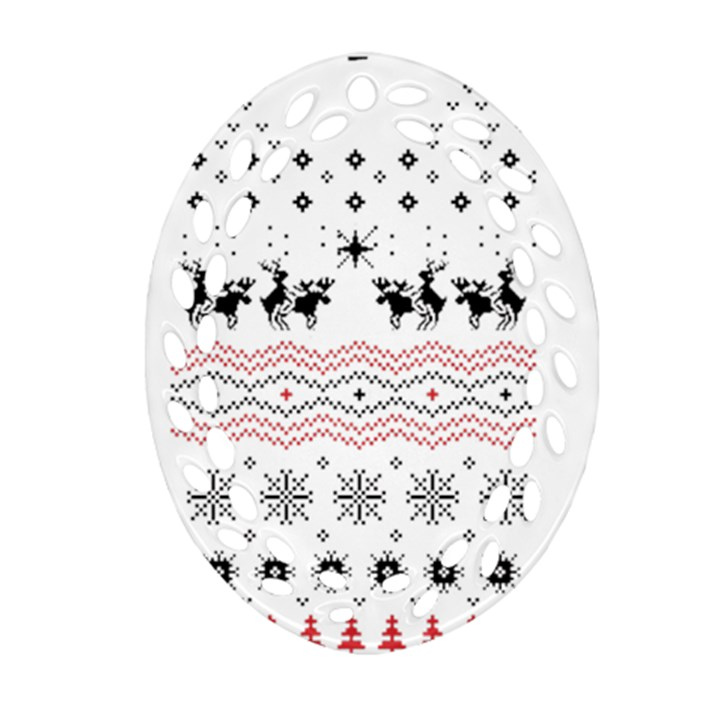 Ugly Christmas Humping Oval Filigree Ornament (2-Side)