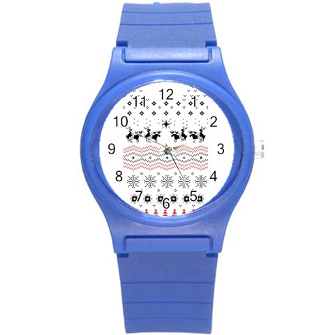 Ugly Christmas Humping Round Plastic Sport Watch (S)