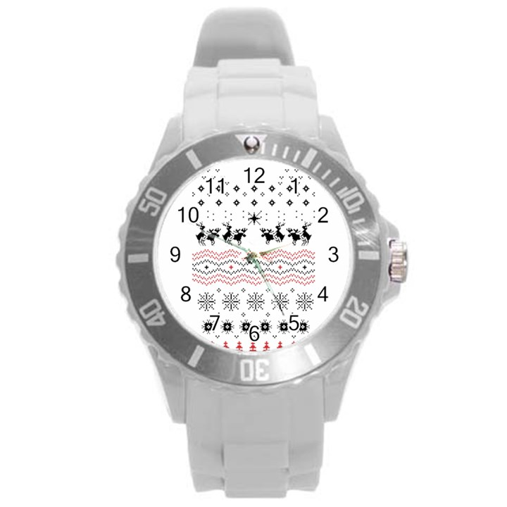 Ugly Christmas Humping Round Plastic Sport Watch (L)
