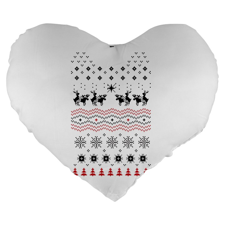 Ugly Christmas Humping Large 19  Premium Heart Shape Cushions
