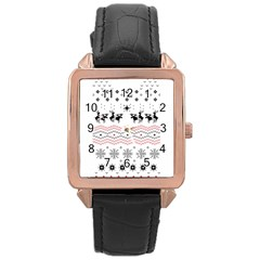 Ugly Christmas Humping Rose Gold Leather Watch