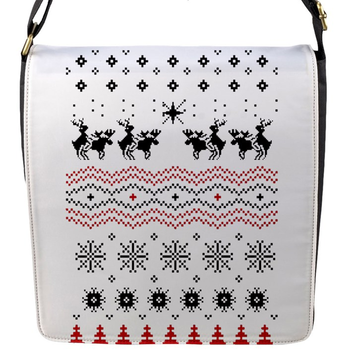 Ugly Christmas Humping Flap Messenger Bag (S)