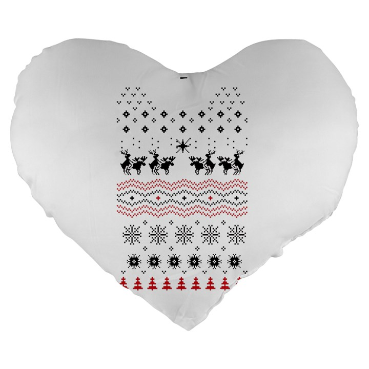Ugly Christmas Humping Large 19  Premium Flano Heart Shape Cushions