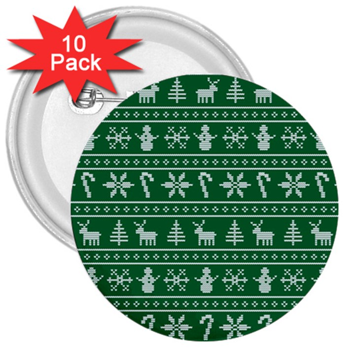 Ugly Christmas 3  Buttons (10 pack)