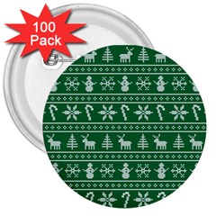 Ugly Christmas 3  Buttons (100 pack)