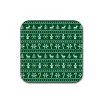 Ugly Christmas Rubber Coaster (Square)  Front