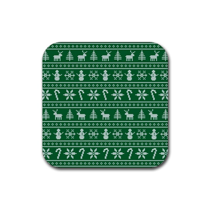 Ugly Christmas Rubber Coaster (Square)