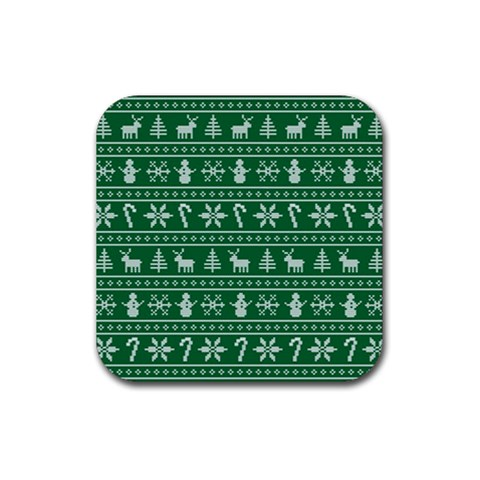 Ugly Christmas Rubber Square Coaster (4 pack)