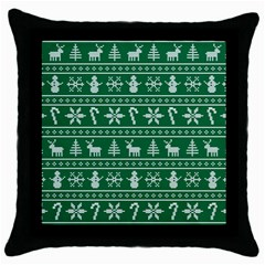 Ugly Christmas Throw Pillow Case (black)