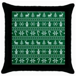 Ugly Christmas Throw Pillow Case (Black) Front