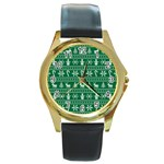 Ugly Christmas Round Gold Metal Watch Front