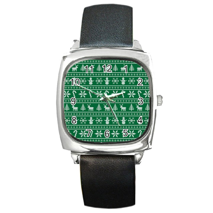 Ugly Christmas Square Metal Watch