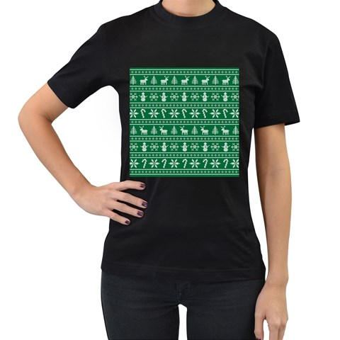 Ugly Christmas Women s T-Shirt (Black) (Two Sided)