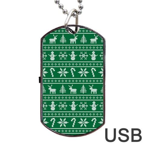 Ugly Christmas Dog Tag USB Flash (One Side)