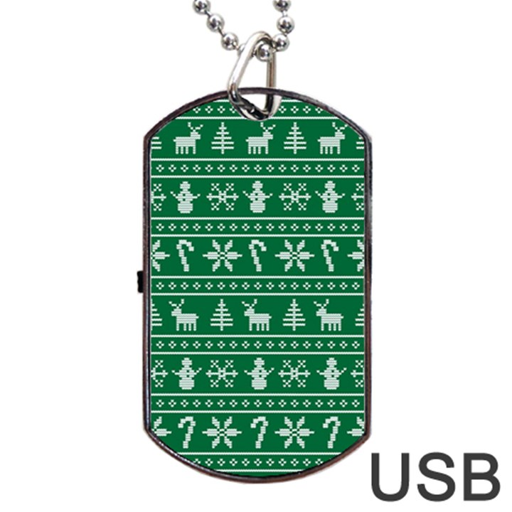 Ugly Christmas Dog Tag USB Flash (One Side)