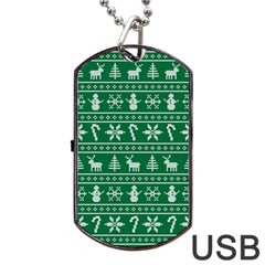 Ugly Christmas Dog Tag Usb Flash (two Sides)