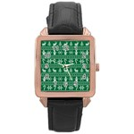 Ugly Christmas Rose Gold Leather Watch  Front