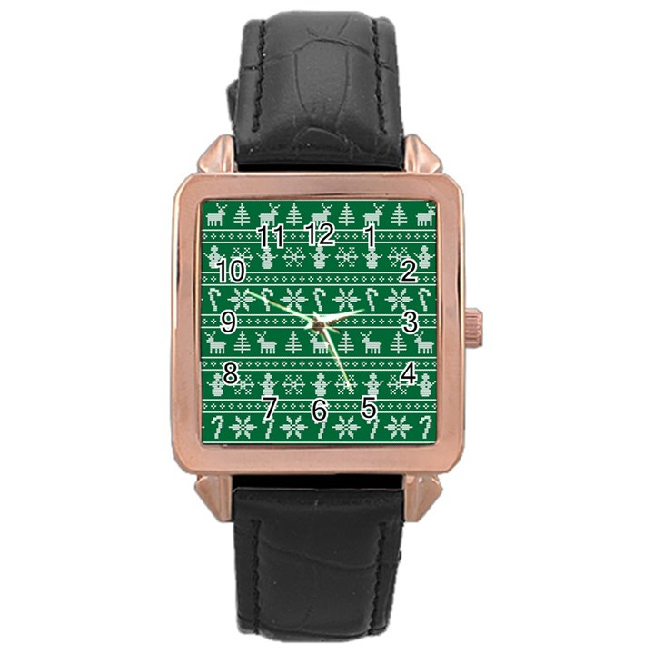 Ugly Christmas Rose Gold Leather Watch