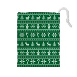 Ugly Christmas Drawstring Pouches (Large)  Front