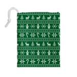 Ugly Christmas Drawstring Pouches (Large)  Back