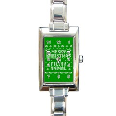 Ugly Christmas Ya Filthy Animal Rectangle Italian Charm Watch