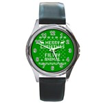 Ugly Christmas Ya Filthy Animal Round Metal Watch Front