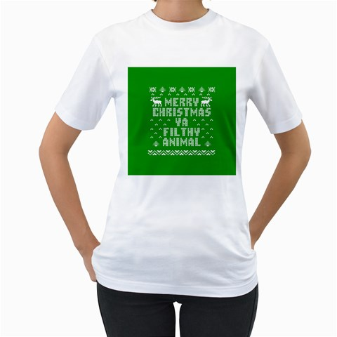 Ugly Christmas Ya Filthy Animal Women s T-Shirt (White) (Two Sided)