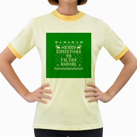 Ugly Christmas Ya Filthy Animal Women s Fitted Ringer T-Shirts