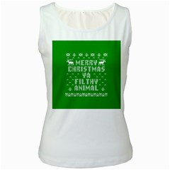 Ugly Christmas Ya Filthy Animal Women s White Tank Top