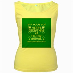 Ugly Christmas Ya Filthy Animal Women s Yellow Tank Top