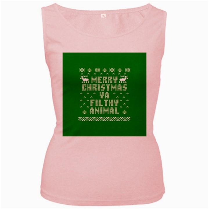 Ugly Christmas Ya Filthy Animal Women s Pink Tank Top