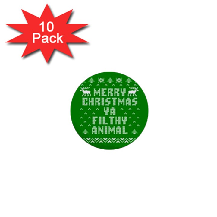 Ugly Christmas Ya Filthy Animal 1  Mini Buttons (10 pack)