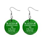 Ugly Christmas Ya Filthy Animal Mini Button Earrings Front