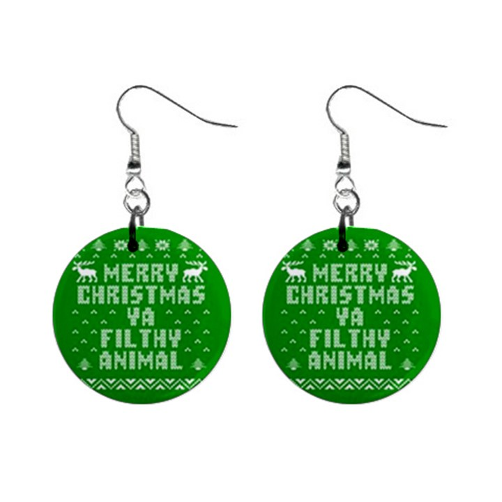 Ugly Christmas Ya Filthy Animal Mini Button Earrings
